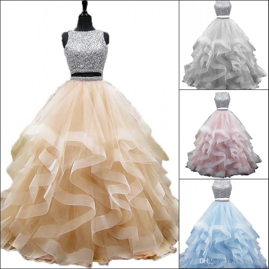 Two Piece Sweet 16 Dresses Crystal Beaded Ball Gown Quinceanera Prom Dresses Long Tiered Ruffle Tulle Princess Pageant Dress Masquerade Gown