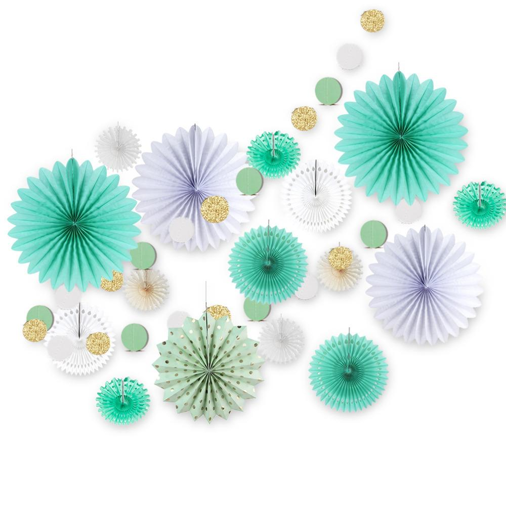 17pcs menthe vert décoration ensemble cercle de paillettes guirlande assorties fans de papier enfants fête d'anniversaire de mariage douche décor Q190606