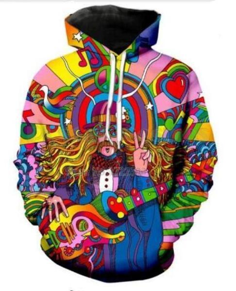 Unisex Hippie Músico Engraçado 3d Impressão Casual Crewneck Moletom Com Capuz Unisex Roupas Estilo Harajuku Pullover Jaquetas Casaco de Qualidade Da Marca YE028