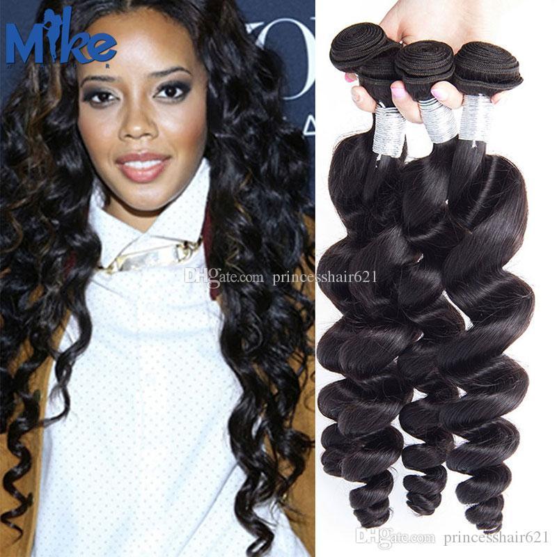 MikeHAIR Brazilian Human Hair Extensions 4 Bundles Malaysian Hair Loose Wave 8-30Inch Unprocessed Peruvian Indian Brazilian Wavy Hair Weaves