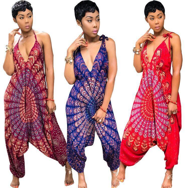 여자 Ethnic Haram Style Jumpsuituit Rompers 기하학 무늬 프린트 스파게티 스트랩 V 넥 와이드 레그 캐주얼 루스 점프 슈트
