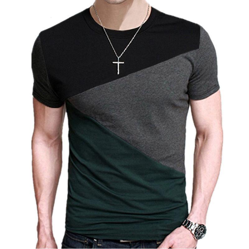 5XL 2017 Printemps Été 100% Coton Col Rond T Shirt Hommes À Manches Courtes T-Shirt Contraste Couleur Fitness Slim Fit Casual T-shirts