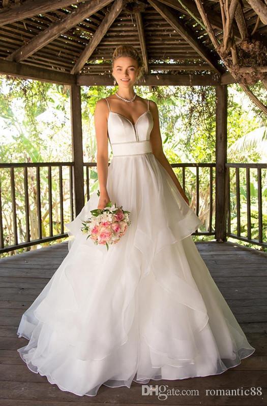 캐스 케이 딩 스커트 페르시 웨딩 드레스 신부 드레스 A 라인 웨딩 드레스 스파게티 스트랩 웨딩 드레스