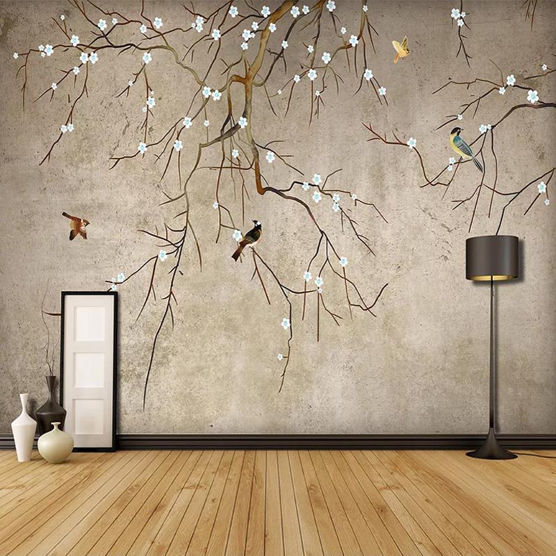 드롭 배송 사용자 정의 벽 벽화 3D 중국 스타일 손 추상 미술 벽화 연구 배경 화면을 회화 꽃 새 오일을 그린
