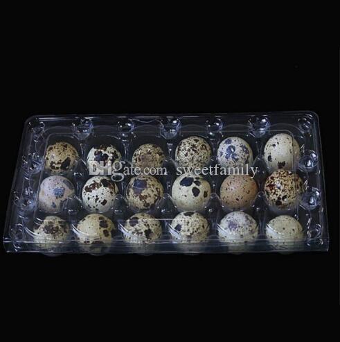 900pcs / lot 18 furos 198 * 41 * 133 centímetros de Ovos de Codorna recipiente plástico Limpar ovo caixas de embalagem de armazenamento Atacado frete grátis