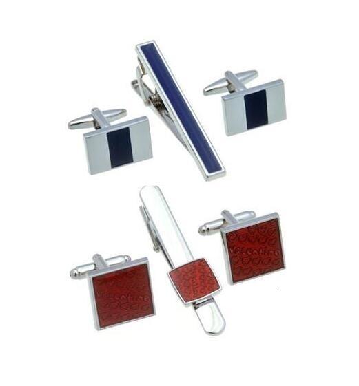 5sets/lot Copper Blue Enamel Cufflinks Tie Clip Set Red Plating Cuff Links&Tie Pin Bar Set Valentine's Day Gift Men's Jewelry SH190925