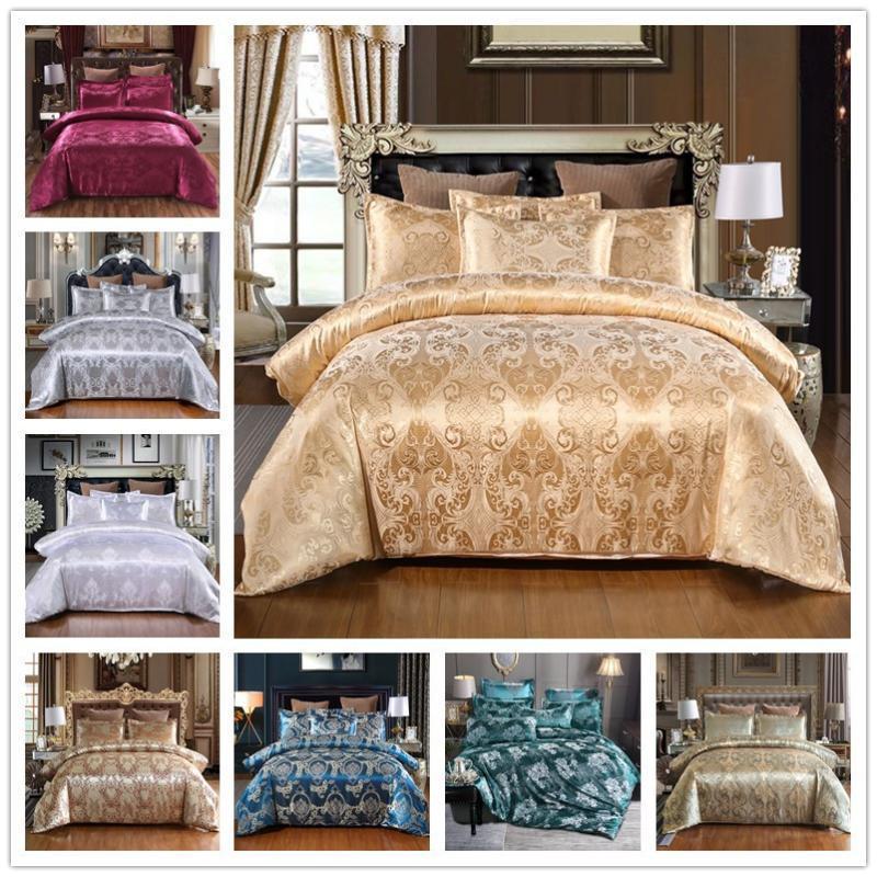 Европейский стиль атласа жаккардовые комплект постельных принадлежностей 3 шт. пододеяльник наволочка удобные детские взрослое постельное белье С12