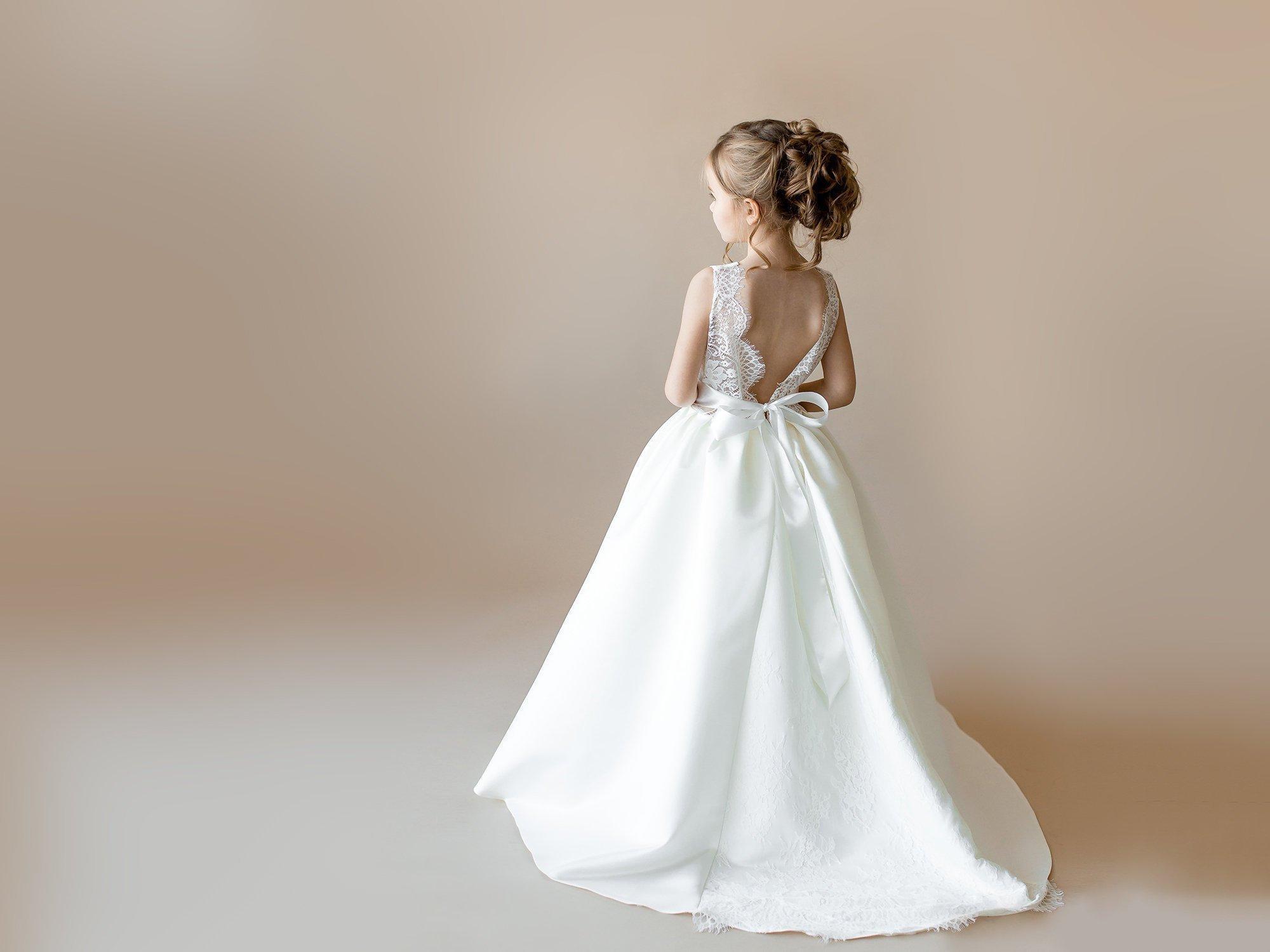 White Flower Flower Girl avorio con treno Junior damigella d'onore Lace Baby Tulle dress Wedding Formal Occasion Tutu Kids Skirt