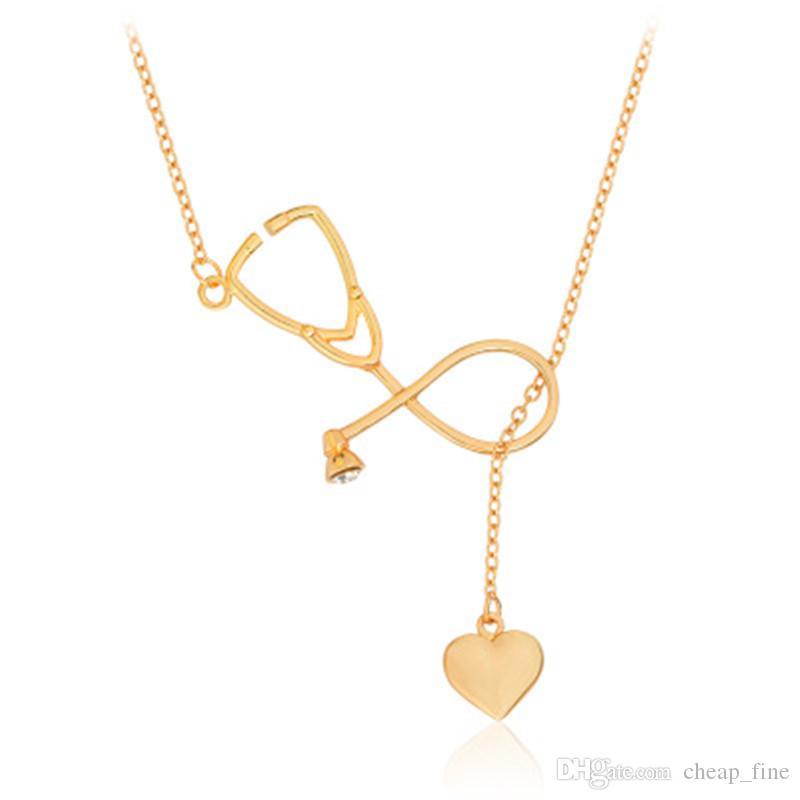 Stethoskop Anhänger Halskette Herz Kette Gold Silber Halskette Collares für Ärzte Krankenschwester Ärzte Medizinstudent Abschluss Geschenk