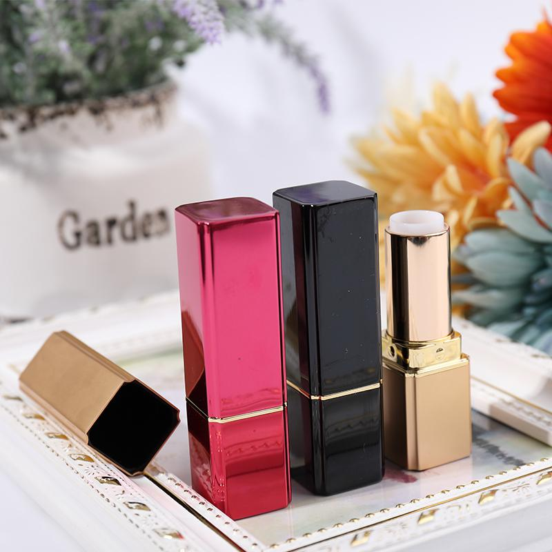 50pcs Empty Aluminum Cosmetic Lipstick Tube, Square Metal High Quality Lip Rouge Beauty Tool, Empty Cosmetic Birthday Makeup