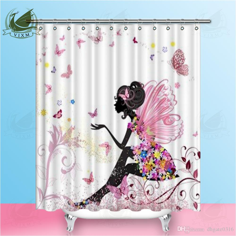 Vixm Cartoon Beautiful Girl Flower Butterfly Shower Curtains Pink Rustic Style Waterproof Polyester Fabric Curtains For Home Decor