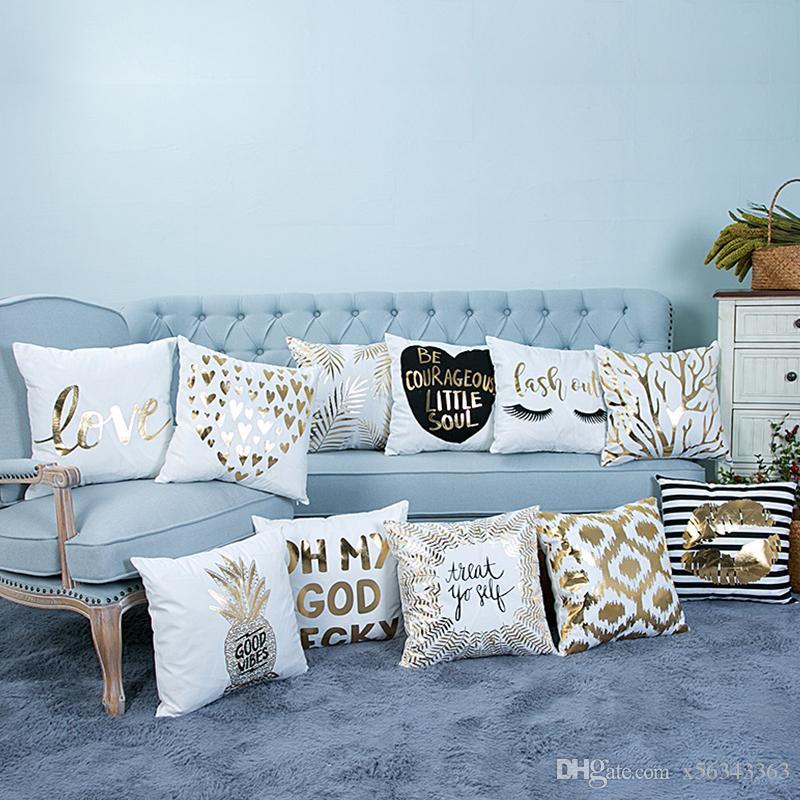 Золото Bling блесток Бронзированием наволочка роскошный простой наволочка диван сиденья автомобиля Чехлы полоса губы ресницы спальня украшения дома