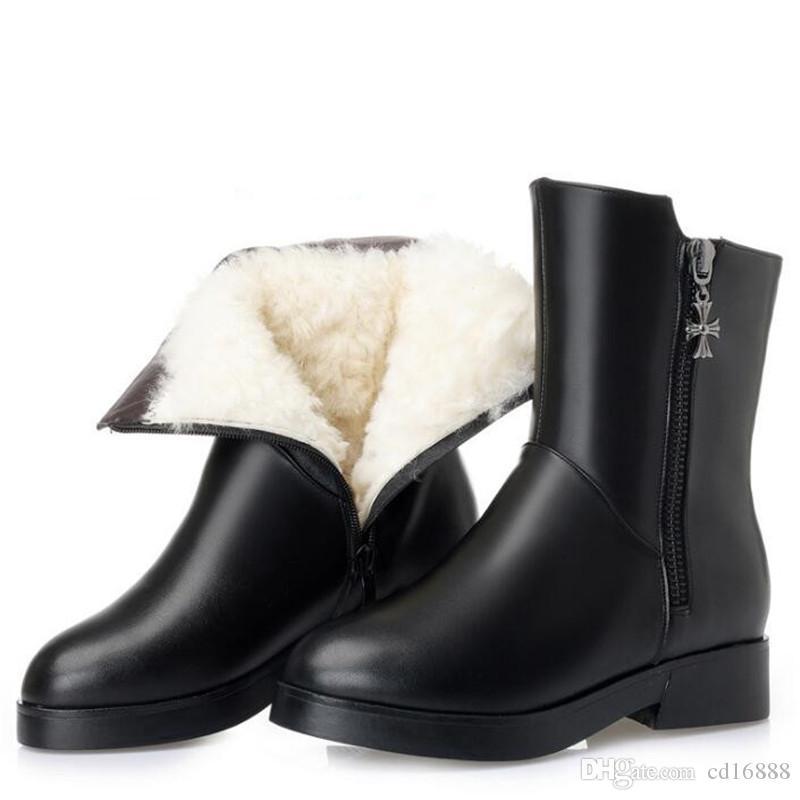 100% Натуральный Полный Натуральная Кожа Меховые Шерстяные Сапоги Модные Теплые Снегоступы Женская Обувь Сапоги в трубе Обувь из Натуральной Кожи