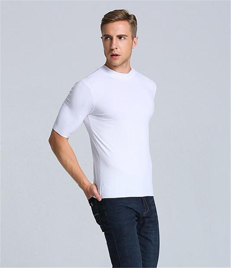 Мода Мужская Тонкая Футболка Лето Homme Дизайнер Чистый Цвет Тройники Повседневная Мужская Одежда С Высоким Вырезом
