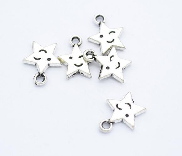 160 pcs Exquisite Star smiley face encantos 14 * 12mm pingentes de prata antigo saco de bronze Handmade brinco pulseira colar tornozeleira