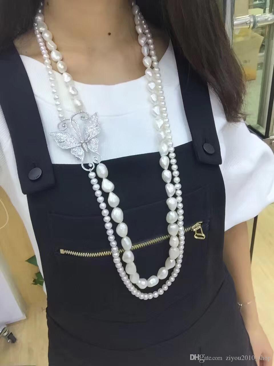 Hot sell 2strands white freshwater pearl necklace zircon accessories butterfly buckle flower fashion jewelry