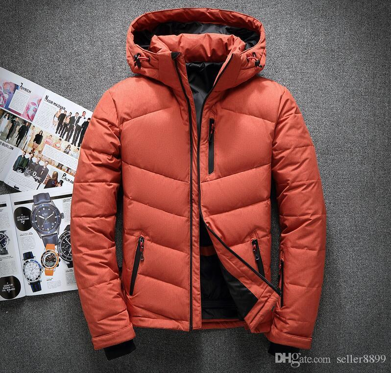 Klasik marka erkekler kış açık beyaz ördek Aşağı ceket adam rahat kapüşonlu uzun Kaban Giyim Erkek sıcak ceketler Parkas