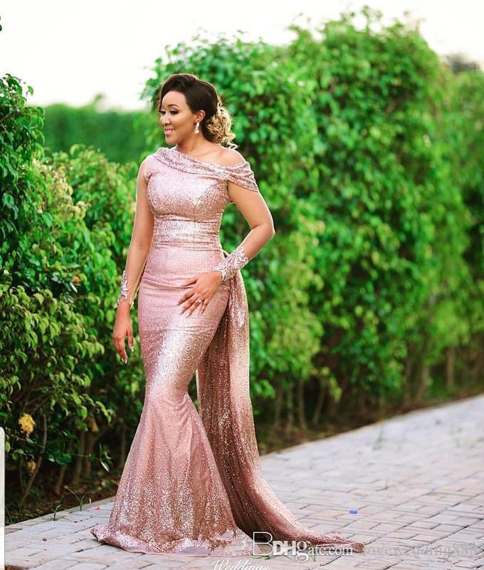 Rose Gold Sequined Mermaid Bridesmaid Dresses with Applique Sheer Sleeves New Style Neckline Maid of Honor Evening Party Gowns