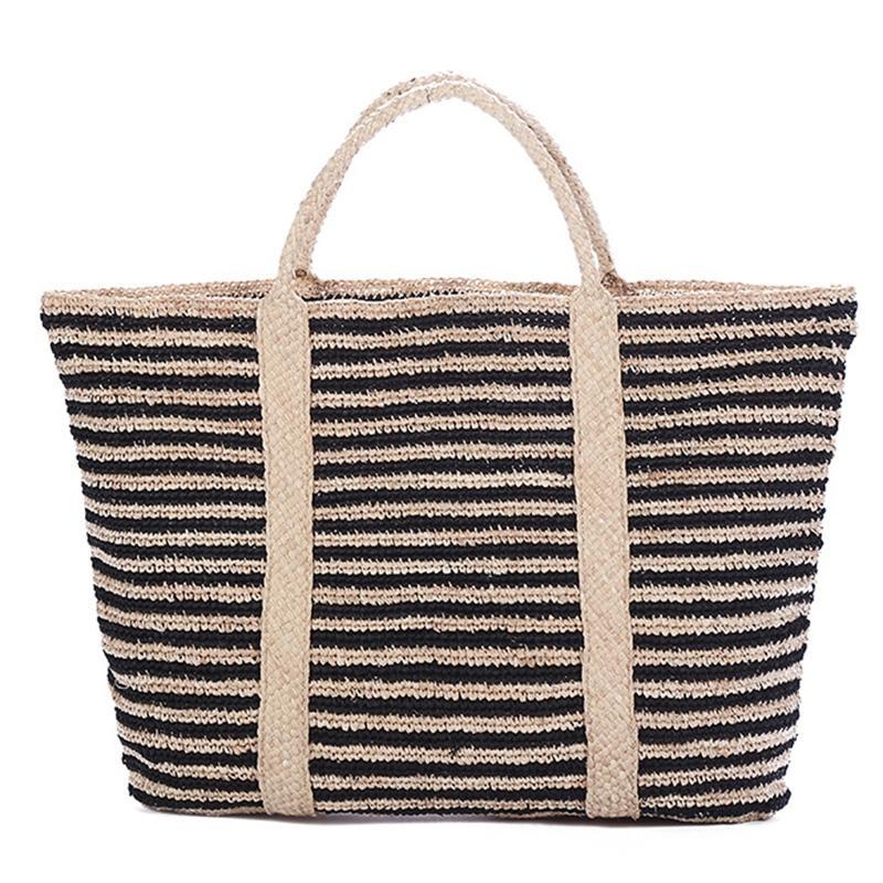 Estilo Summer Beach Bag Francês Straw Bag Mulheres Striped Tote tecido oco Out bolsas elegantes Bolsas Vintage