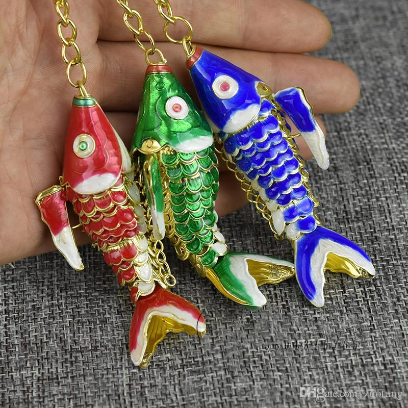5.5cm 8.5cm 별개의 스윙 코이 물고기 멋진 열쇠 고리 열쇠 고리 귀여운 중국 럭키 물고기 키 체인 쥬얼리 펜던트 여성 남성 키즈 선물 상자