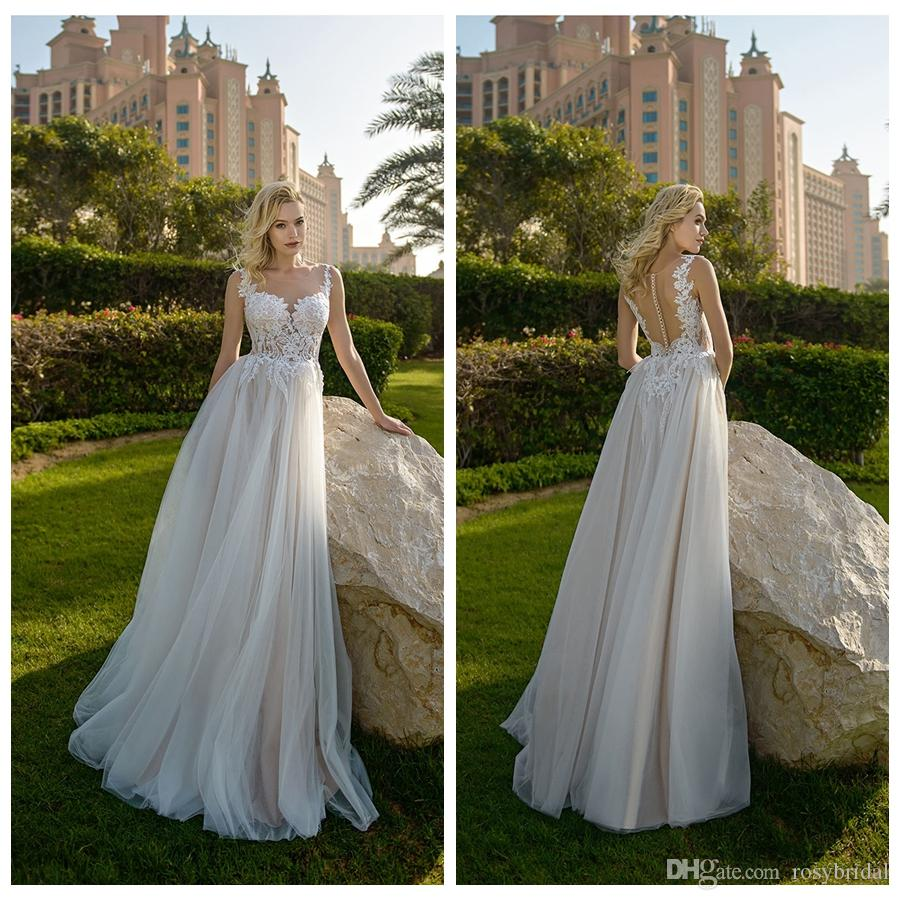 2019 Sexy Sheer Neck Champagne Wedding Dresses Custom Made Soft Tulle Appliqued Garden Bridal Gowns Robe De Mariage