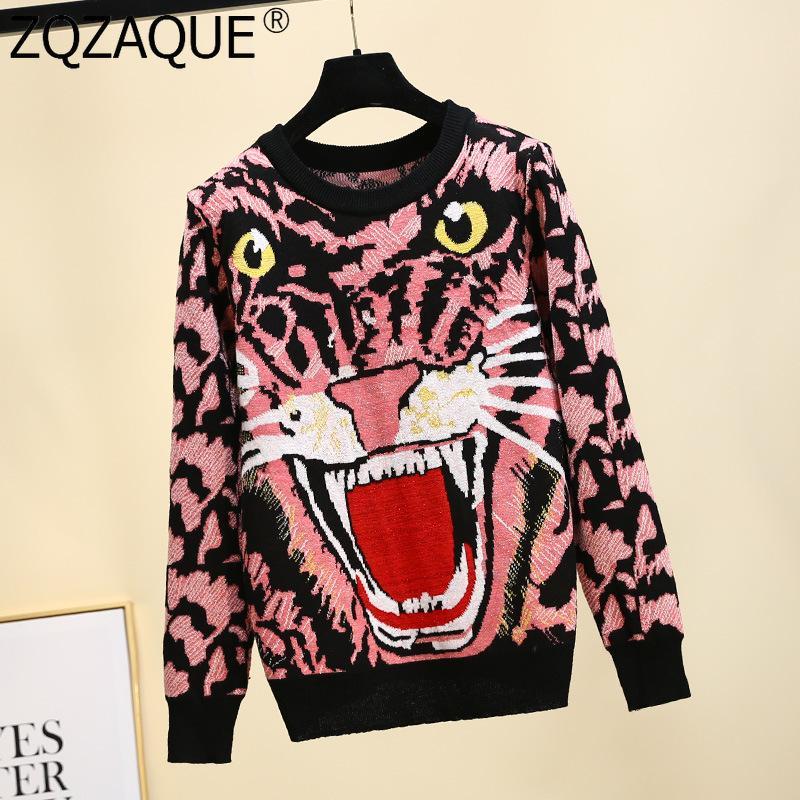 여성을위한 새로운 패션 니트 스웨터 오 - 넥 긴 소매 만화 타이거 패턴 탑스 트렌디 세련된 뜨개질 풀 오버 탑 모든 항목