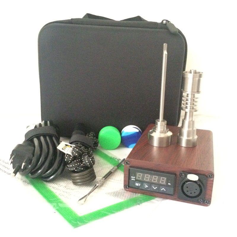 quarzo Enail Kit elettrico dab nail portatile dabber rig titanio e nail tamponando cera vaporizzatore PID box digitale per acqua di vetro bong