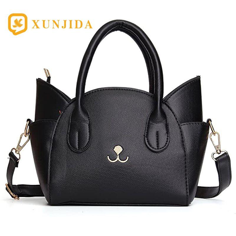 XUNJIDA NOVO 2020 das mulheres Handle Summer Fashion Top bonito Shoulder Crossbody Cat Bag Bag Verão Black Beach Handbag Zipper Vintage