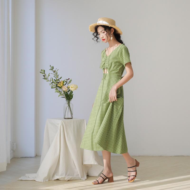 Авокадо зеленый плед платье женщина 2020 лето и корейской версии с коротким рукавом девушки платье DZ062.