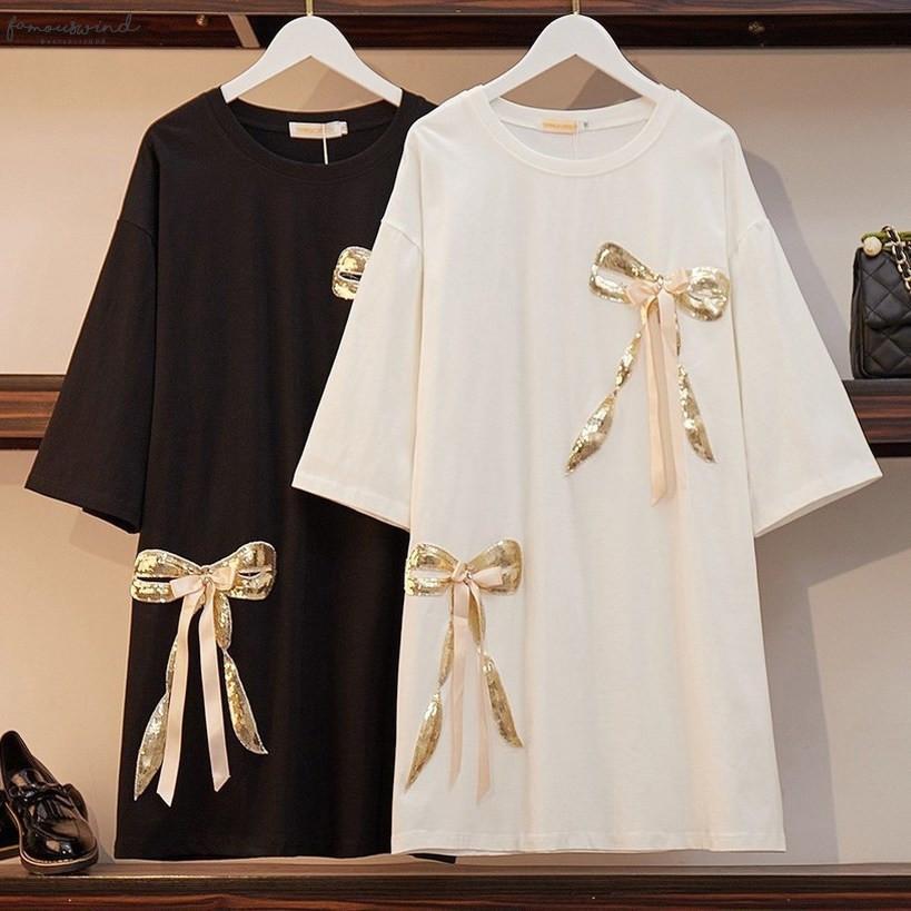 Xl 6Xl 2020 Women Summer Dress Plus Size Casual Loose Shirt Dress Sequined Patchwork Ladies Black Large Size 5Xl Vestidos