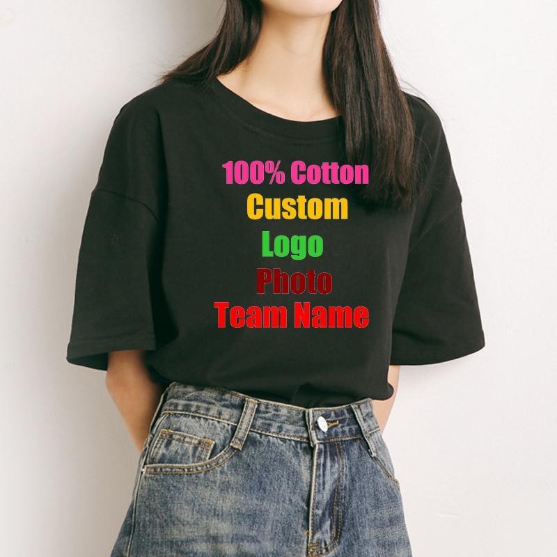 Preppy Menina coreana de Algodão De Grandes Dimensões Mulheres Camiseta Logotipo Personalizado Foto Texto Impresso Tees Solto Personalizado Senhora Verão T-shirt Sólida C19041001