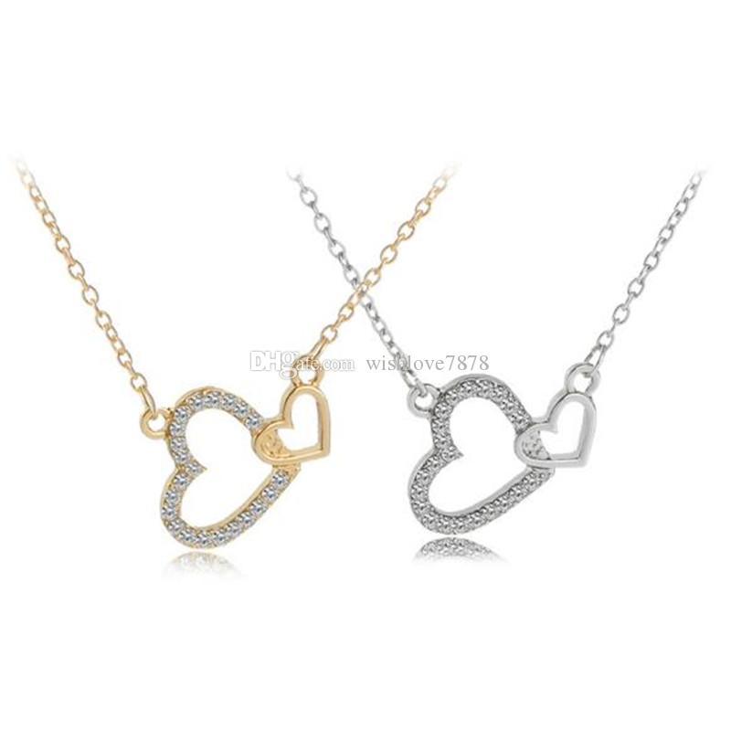 Çift Kalp Kolye Rhinestone Birbirine Kalp Aşk Altın Gümüş Alaşım Kolye Kolye Takı Kız Arkadaşı Hediye Için