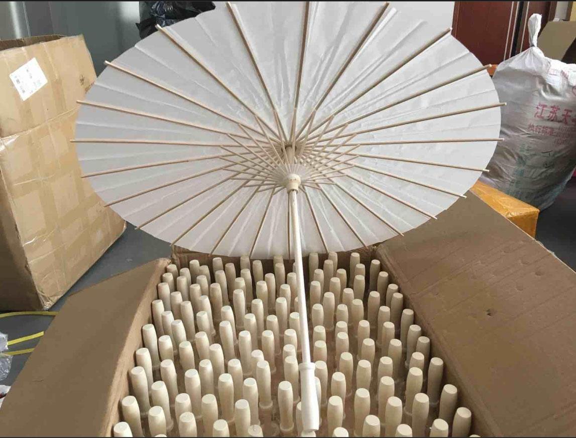Papier Brida Hochzeit Regenschirm weißen Sonnenschirme Handgemachte Plain chinesischer Mini Craft-Regenschirm für hängende Ornamente 4 Größen HH7-993