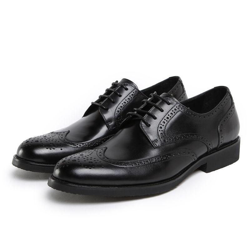 Scarpe da uomo bestiame Lace-up Pelle bovina formale indossare scarpe da sposa Work Wear Chaussure Homme