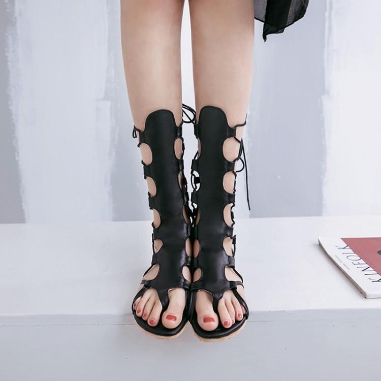 Glittery2019 Popular2019 Codice donna Will Shoes Sandali con fondo piatto Canotta alta con fasciatura scarpa Roma
