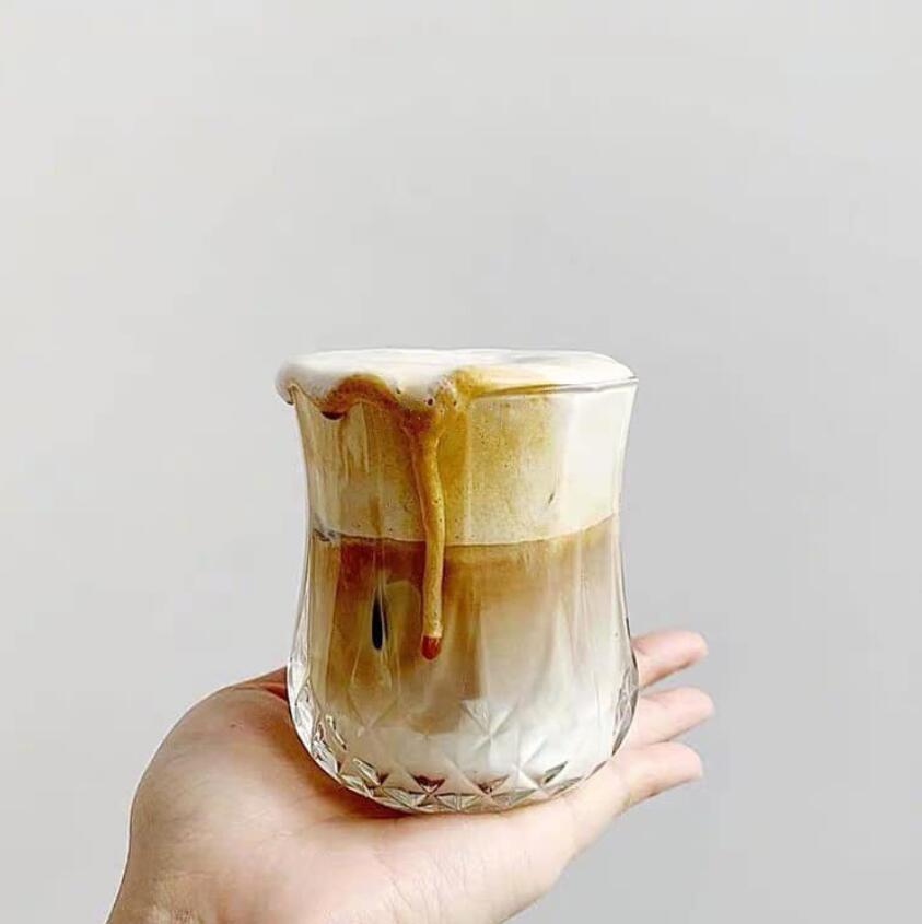 lattes gelada copo latte copos peças de arte de café vidros do vintage copos de limonada de alta olhar de nível copo curto diamante de vidro Copos