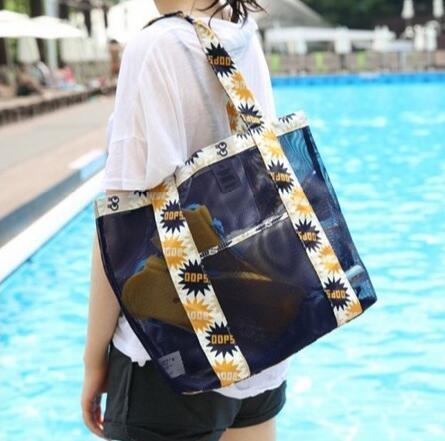 الصيف مش حقيبة الشاطئ شبيكة الشعر أكسفورد القماش وأكياس التسوق المرأة واحدة في الكتف حقيبة يد حقيبة الرياضة في الهواء الطلق حقيبة تخزين السباحة حمل