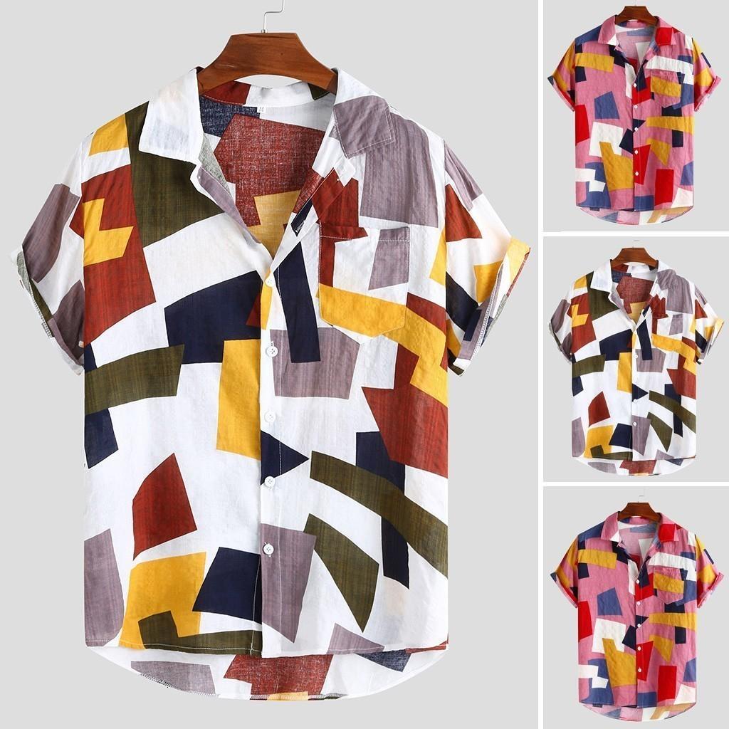 Camisas casuais dos homens camisa de manga curta 2021 Camisa Masculina Moda Mens Impresso Hawaiian Botões soltos M-3XL