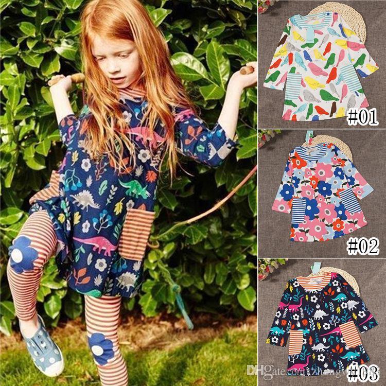 Девушки цветочные платья 3 стили осени Печатные девочек Принцесса Платья Дети партии Одежда Дети дизайнер одежды девочек Детская одежда DHL JY14