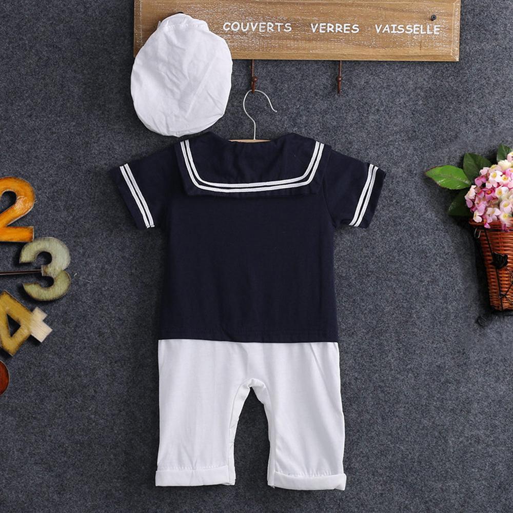 Salut Salut bébé nouveau-né Magasin USA bébé Sailor Costume enfant en bas âge Outfit Ensemble Romper coton Salopette Vêtements Chapeau