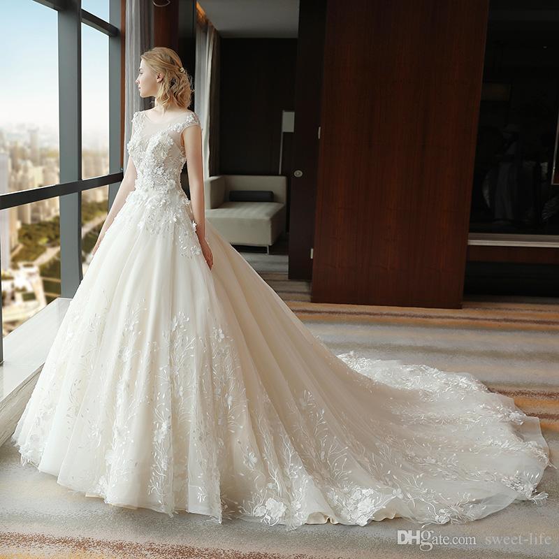 Skromna Suknia Balowa Bridal See przez Suknie ślubne 2020 Arabski Tani Custom Made 3D Aplikacje Plus Size Sukienka Zaręczyna 3959 Małżeństwo