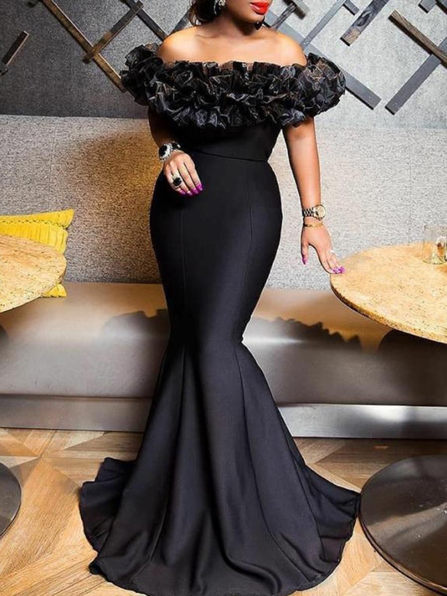 Schwarze Mädchen weg von der Schulter Mermaid New Abendkleider lang plus Größe Afrikanischer Partei-Kleider Abendkleider paolo sebastian Roben de Cocktail