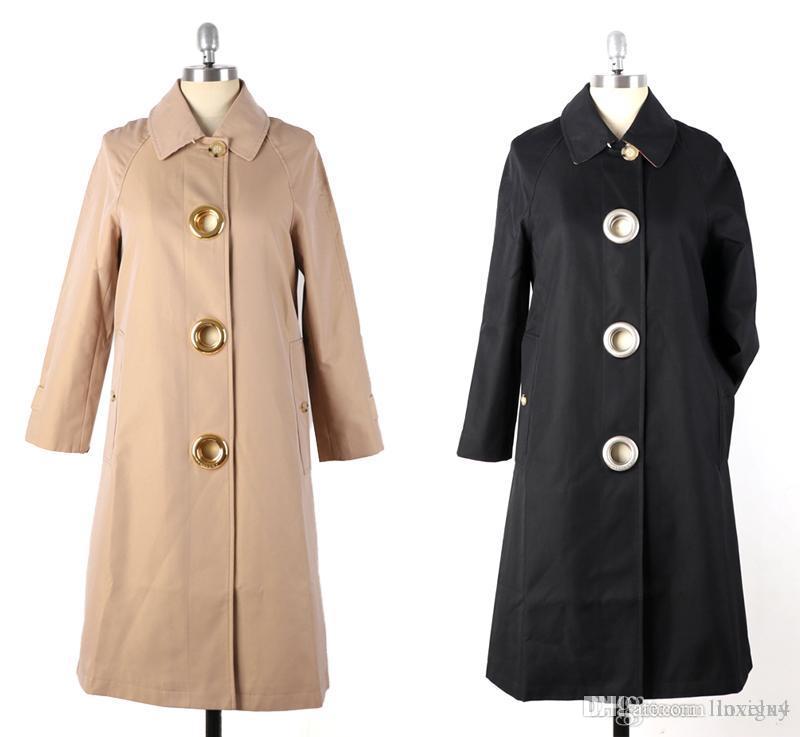giacca a vento lungo solido rotondo di colore a vento di metallo cavo femminile fibbia giacca impermeabile moda inglese trincea coats2019 nuova gu4EWTR