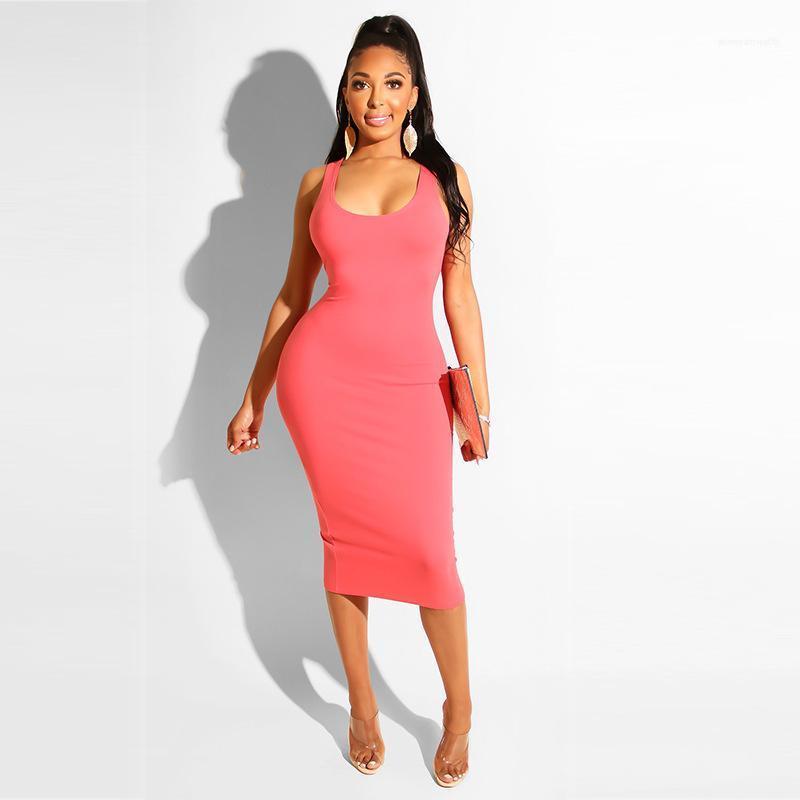 Тонкий Спагетти ремень Дамы платье без рукавов Crew Neck Темперамент Одежда Сплошной цвет Мода женские платья Повседневный