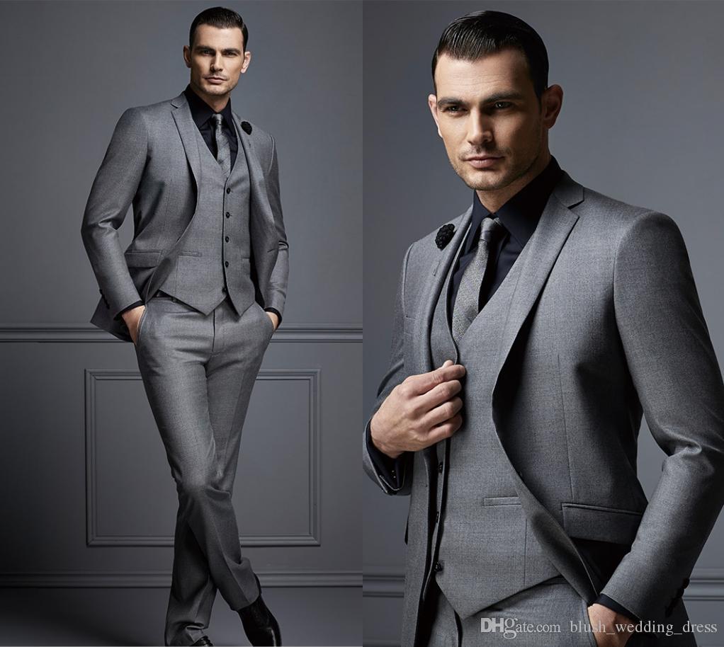 Moda gris guapo traje para hombre traje de novio barato trajes de hombre formal para los mejores hombres Slim Fit Novio Tuxedos para hombre (chaqueta + chaleco + pantalones)