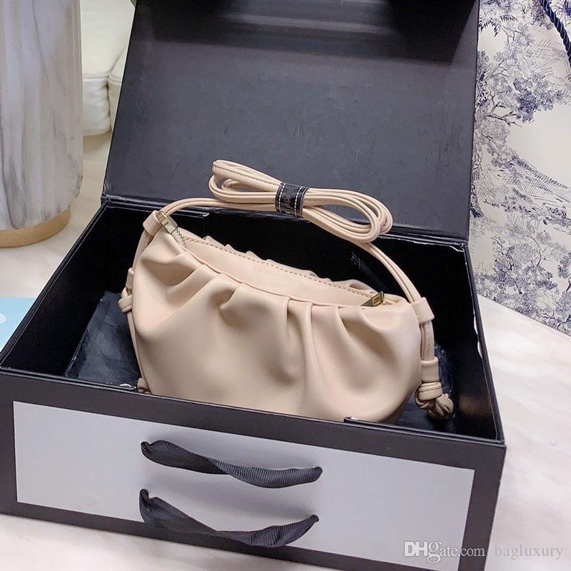 Кожа Сумочка Женщины Мягкие способа высокого качества сцепления сумка Lady Ruched Облако Малый мешок плеча Быстрая доставка