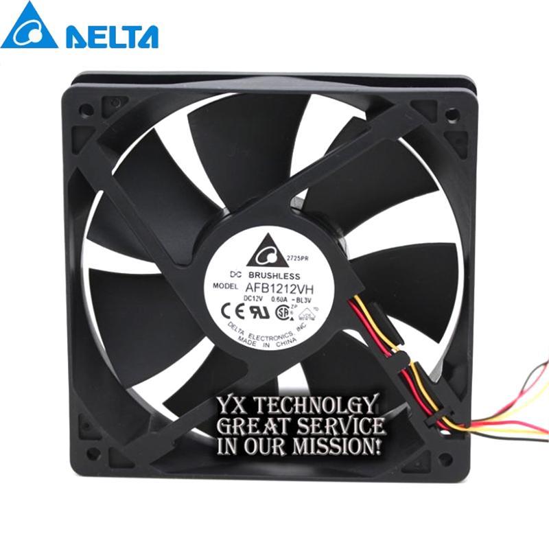 Computer & Office Delta For 12CM AFB1212VH-BL3V fan 12025 12V 0.60A 3lines dedicated fan for 120*120*25mm