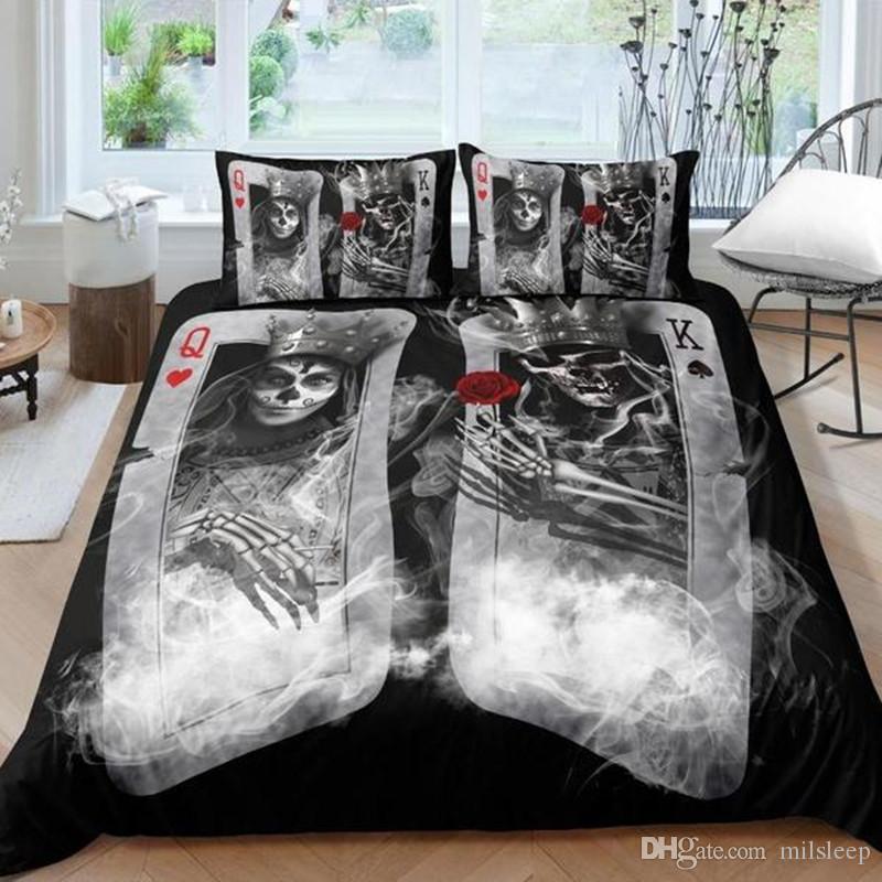 Couple sugar Skull Bedding Sets 3D poker skull Duvet Cover set Bed bedline AU US size bedline