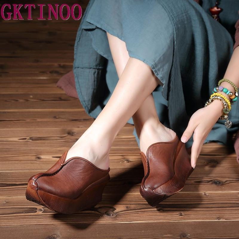 Gerçek Deri Kadınlar Sandalet Retro el yapımı Platform Wedges Koyun postu Yüksek topuk Yaz Ayakkabı Kapalı Burun Comfotable Kadınlar Slaytlar