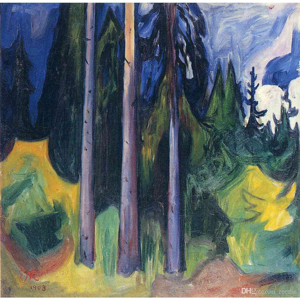 Dipinti ad olio su tela di Edvard Munch Forest per decorazione murale dipinta a mano